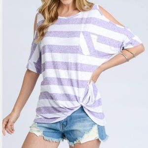 Tops - Striped cold shoulder